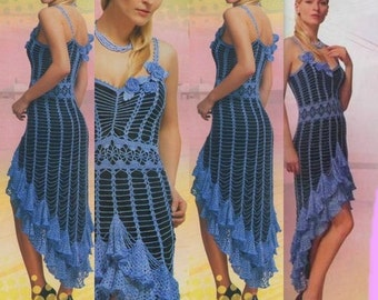 Beautiful ladies crochet dress in blue / custom