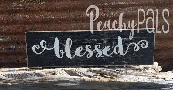 Wooden Sign Blessed Black & White Rustic Wall Decor