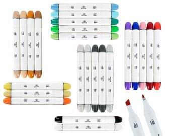 Bullet Nib  Sketch Markers 24 Dual Tip Pens For Illustration Sketching Manga Drawing Coloring Books Comics