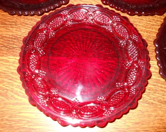 1876 Avon Cape Cod Ruby Red Glass Salad Plate