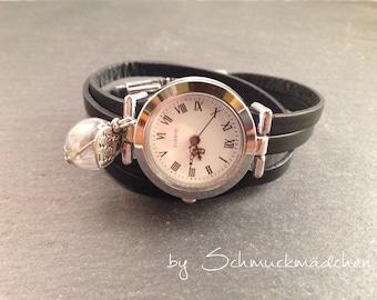 Watch bracelet silver black flower