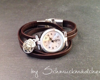 Watch bracelet silver Brown flower white