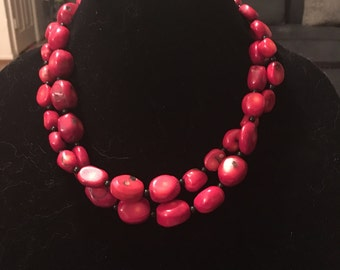 Red Coral Nuggets. 2 Layer chain. Intense Color