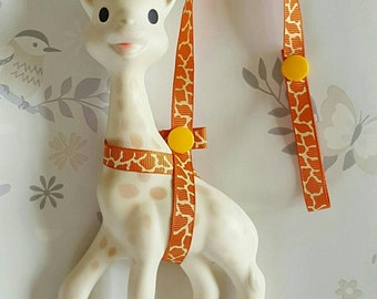 Sophie The Giraffe Harness Leash Saver Giraffe Print with Yellow Poppers, Teether Strap