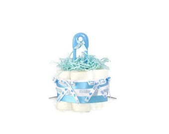 Mini Baby Boy Shower Diaper Cake Centerpiece- Blue & White, It's a Boy