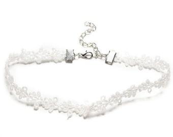 White Crochet Lace Choker