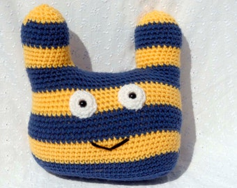 Crochet Stripe Monster, Amigurumi Stuffed Animal, Hand Made Soft Toy, Blue and Gold Monster with Snap On Safety Eyes