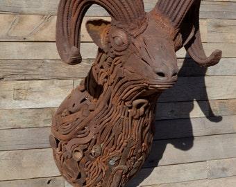 Metal Rams Head, Metal Sculpture, Metal Art