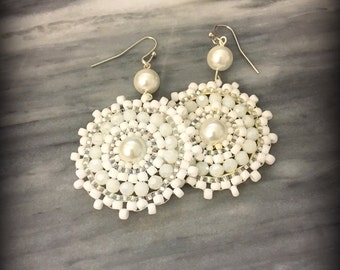 White Disc Pearl Earrings | Seed bead Earrings | dangle and drop Earrings | Bridesmaid Earrings | Nickel Free | Gift for Her | Snowflake