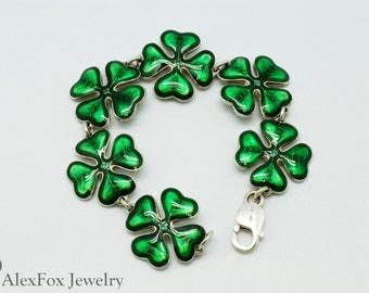Lucky Clover (quatrefoil) bracelet - sterling silver, enamel, emeralds / Flower bracelet