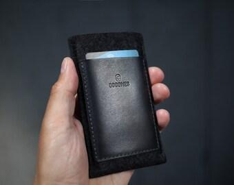 OnePlus 3T / OnePlus 3 / OnePlus Two / OnePlus One Wallet Sleeve - Italian Leather and Wool Felt, Smokey Grey / Black
