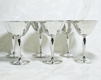 Six Vintage Pilgrim Silver Plate Wine Goblets