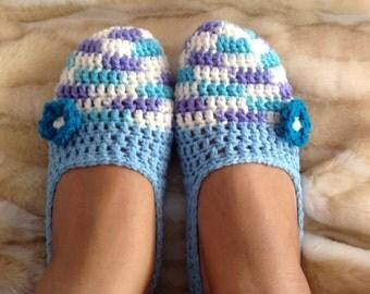 Comfy Sky Blue & Purple Women's Crochet Slippers with Flower
