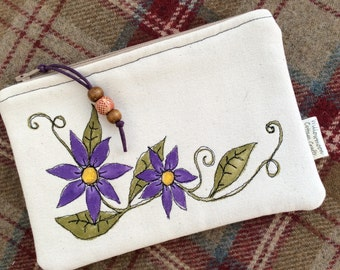 Handmade, hand painted  Canvas Zip pouch / purse, make up bag, accessory pouch
