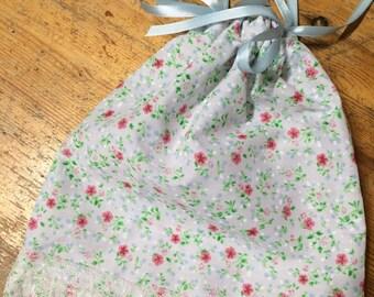 Small Floral Drawstring Bag