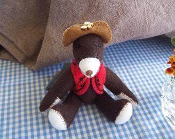 "Bear original handmade wool felt. My name is ""Charles"""
