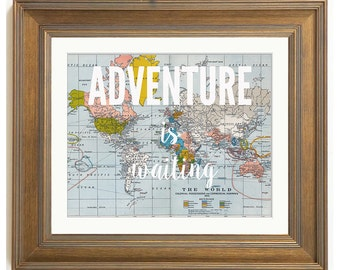 Adventure is Waiting, Vintage Map Print, inspirational quote, nursery, kids bedroom decor, printable, download, digital file