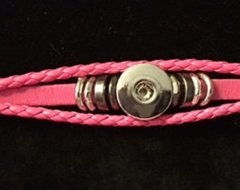 Pink Leather Bracelet without a snap with a snap closure