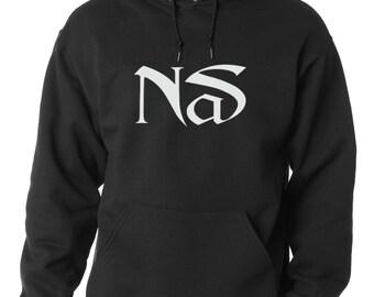 Nas WHITE LOGO Hoodie Classic Hip Hop Rap Sweatshirt Nasir New York Rap illmatic NEW