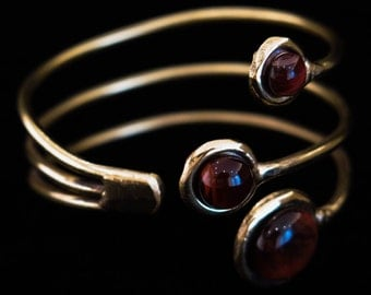 Brass or silver hand crafted bangle red tigers eye gemstones