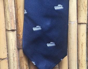 Vintage Pintail Preppy 80's Navy Tie with Powerboat Design