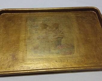 Antigue platter,Ormolu,decoupage tray,wooben tray.