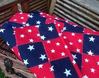 Patched throw boys Navy and bright Red with white stars 120cm-100cm new
