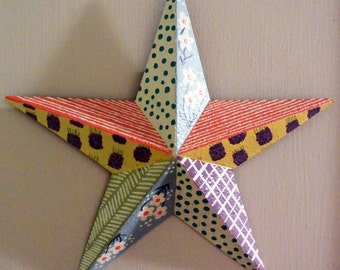 Pastel Floral and Geometric Hand Painted Metal Star // baby nursery gifts // baby gifts