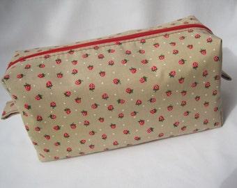 Strawberry Print, Polka Dot Lined Boxy Cosmetic Bag