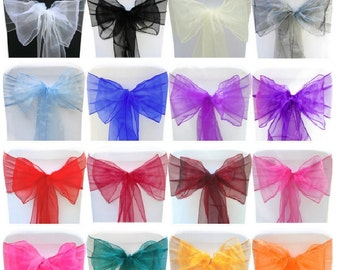 50 x Organza Chair Cover Sashes Bow Free Shipping-Organza Wedding Chair Ties-Chair Hoods-Shower Party Banquet Decoration