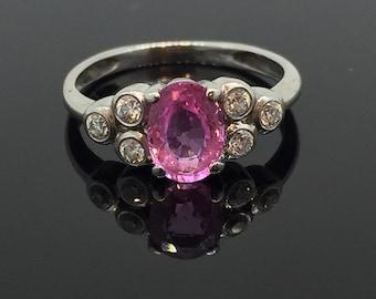 Antique Oval Cut Pink Sapphire & Diamond Ring