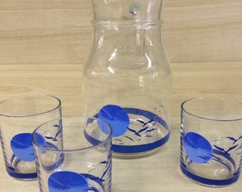 Vintage Retro Water Jug and Glasses x 3 - Made in Italy