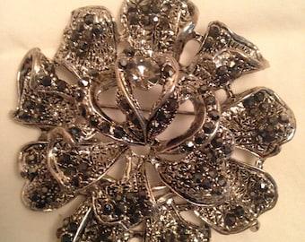 Lg. Ornate sliver flower ribbon pattern somked colored rhinestones