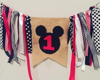 Mickey Mouse High Chair Birthday Banner