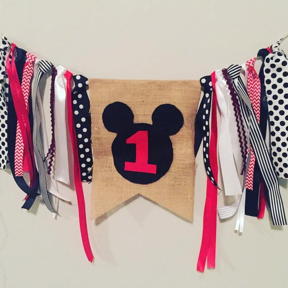 Mickey Mouse High Chair Birthday Banner By TNTCreationsandCo