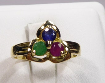 Vintage 14k yellow gold ring with 3mm Ruby, Emerald, Sapphire, size 7.25
