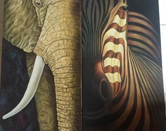 Elephant Zebra painting