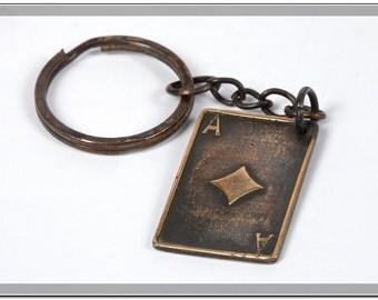 Keychain Card Ace of Diamonds