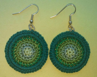 Small Anita Crochet Earrings- Green Blend