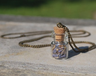 Lavender bottle necklace