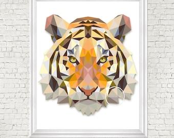 Geometric print, nursery art, tiger, digital prints, nursery decor, kids room art, printable, nursery wall art, digital, modern nursery, tig