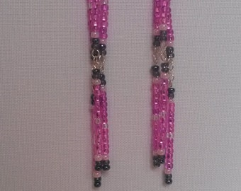 Pink Multicolored Beaded Earrings