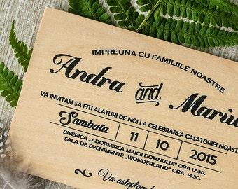 Wooden wedding invitations/ Real wood invitation