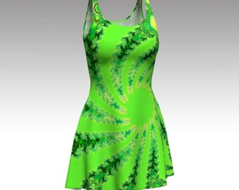 Green Dress, Fractal Dress, Abstract Dress, Psychedelic Dress, Flare Dress, Skater Dress, Fit and Flare Dress, Bodycon Dress, Fitted Dress