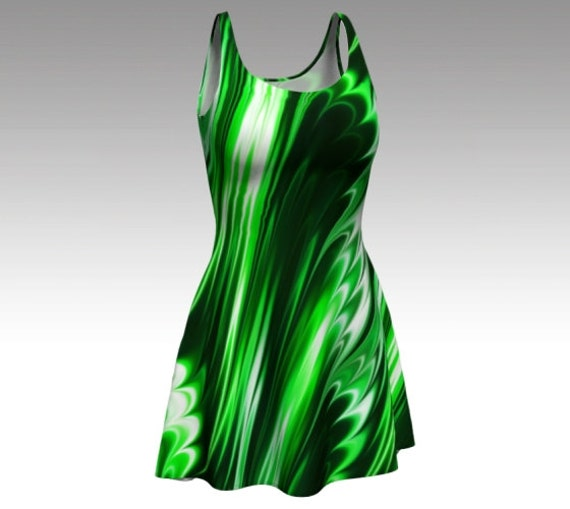 Emerald Dress, Emerald Flare Dress, Green Dress, Green Flare Dress, Swirl Dress, Green Swirl Dress, Abstract Dress, Abstract Flare Dress
