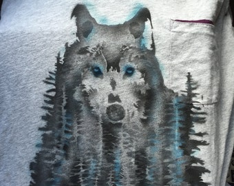 Air brushed wolf t-shirt