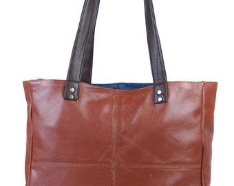 Genuine leather tote bag, handbag, shoulder bag