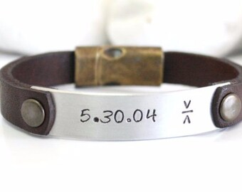 EXPRESS SHIPPING Mens Personalized Leather Bracelet,Mens Bracelet,Personalized bracelet,id bracelet,bracelet,polished aluminum plate,Fathers