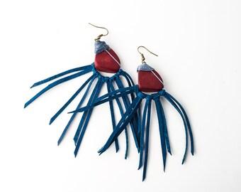 Blue Statement Leather Earrings