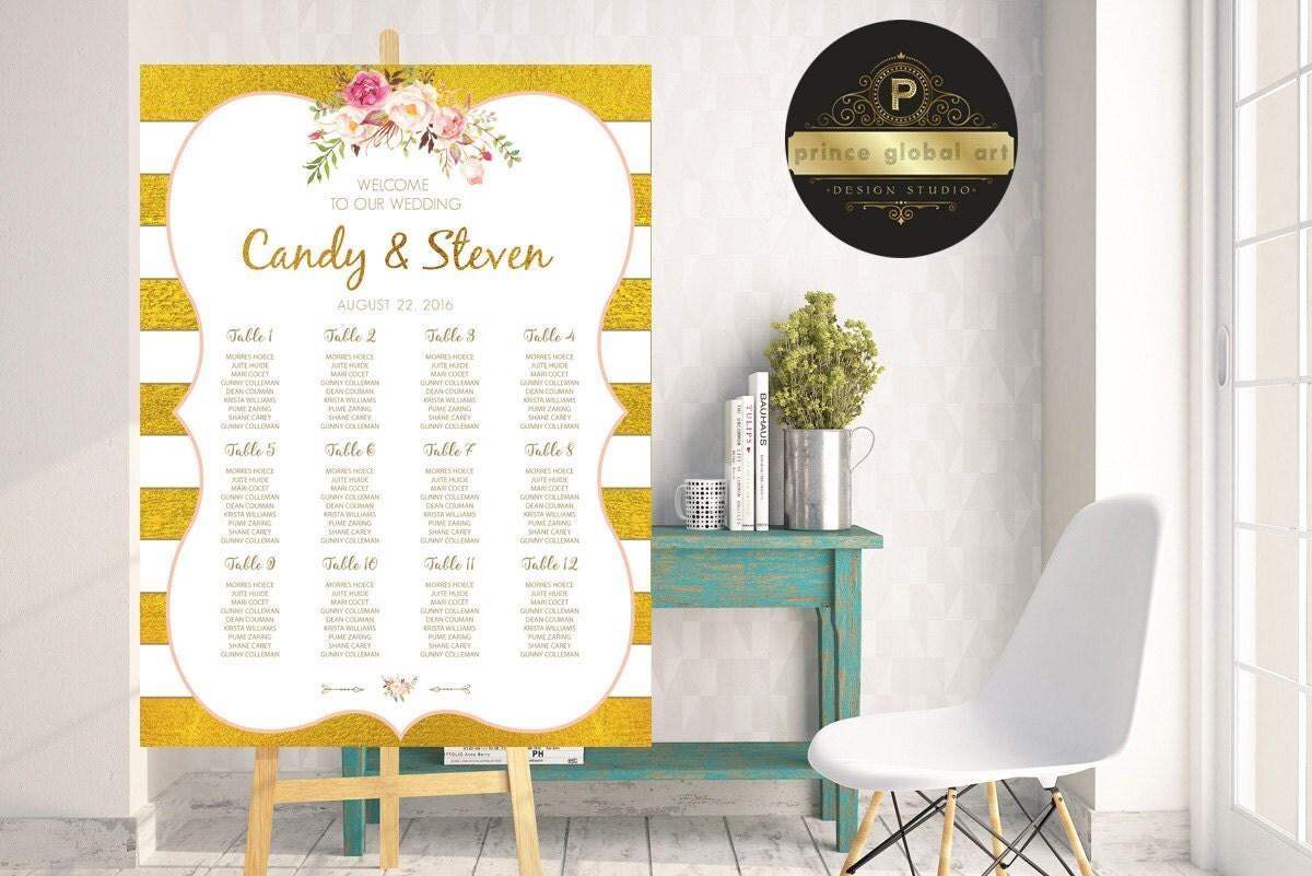 Hochzeit Sitzordnung druckbare Liste Gold Gäste Aquarell
